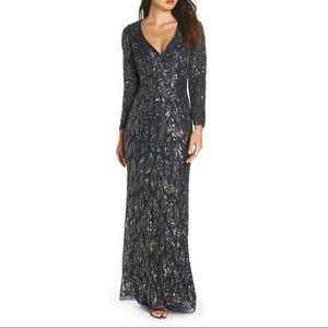 NWT Mac Duggal Midnight Beaded Long Sleeve Gown